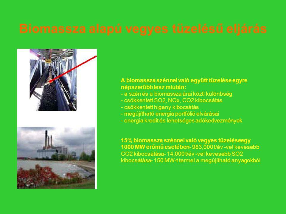 Biomassza alapú vegyes tüzelésű eljárás A biomassza szénnel való együtt tüzelése egyre népszerűbb lesz miután: - a szén és a biomassza árai közti különbség - csökkentett SO2, NOx, CO2 kibocsátás - csökkentett higany kibocsátás - megújítható energia portfólió elvárásai - energia kredit és lehetséges adókedvezmények 15% biomassza szénnel való vegyes tüzeléseegy 1000 MW erőmű esetében- 983,000 t/év -vel kevesebb CO2 kibocsátása- 14,000 t/év -vel kevesebb SO2 kibocsátása- 150 MW-t termel a megújítható anyagokból
