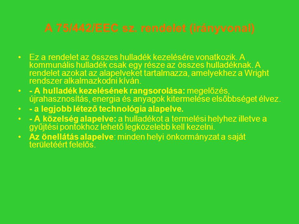 A 75/442/EEC sz.rendelet (irányvonal) Ez a rendelet az összes hulladék kezelésére vonatkozik.