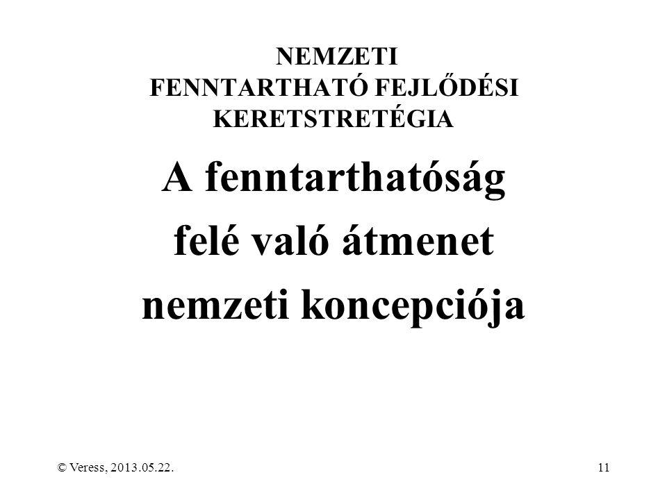 NEMZETI FENNTARTHATÓ FEJLŐDÉSI KERETSTRETÉGIA A fenntarthatóság felé való átmenet nemzeti koncepciója © Veress, 2013.05.22.11