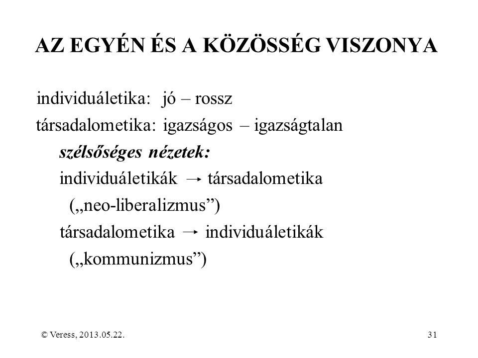 """© Veress, 2013.05.22.31 AZ EGYÉN ÉS A KÖZÖSSÉG VISZONYA individuáletika: jó – rossz társadalometika: igazságos – igazságtalan szélsőséges nézetek: individuáletikák társadalometika (""""neo-liberalizmus ) társadalometika individuáletikák (""""kommunizmus )"""