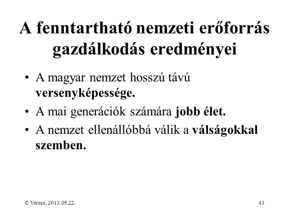 A fenntartható nemzeti erőforrás gazdálkodás eredményei A magyar nemzet hosszú távú versenyképessége.