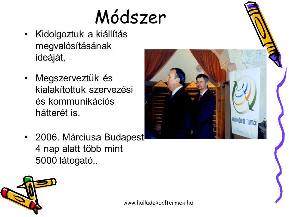www.hulladekboltermek.hu Módszer Kidolgoztuk a kiállítás megvalósításának ideáját, Megszerveztük és kialakítottuk szervezési és kommunikációs hátterét is.