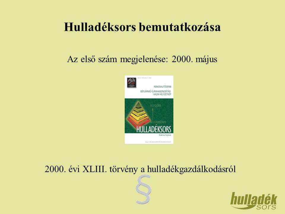 Hulladéksors bemutatkozása Az első szám megjelenése: 2000.