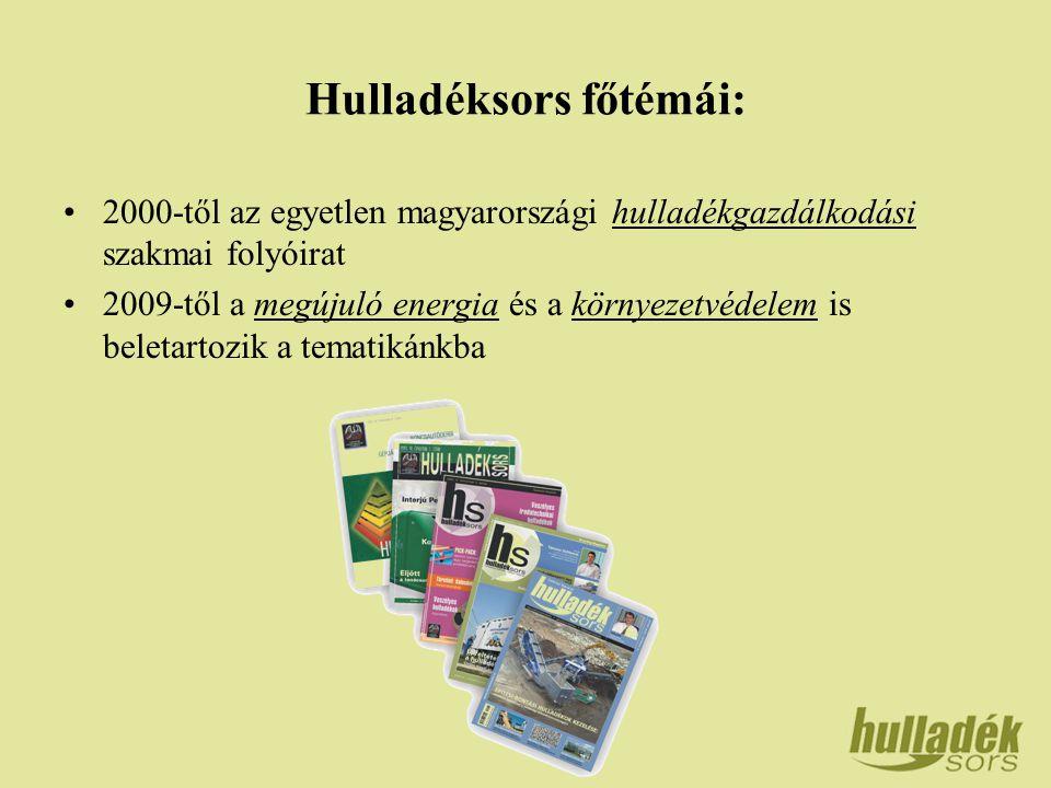 Hulladéksors főtémái: 2000-től az egyetlen magyarországi hulladékgazdálkodási szakmai folyóirat 2009-től a megújuló energia és a környezetvédelem is beletartozik a tematikánkba