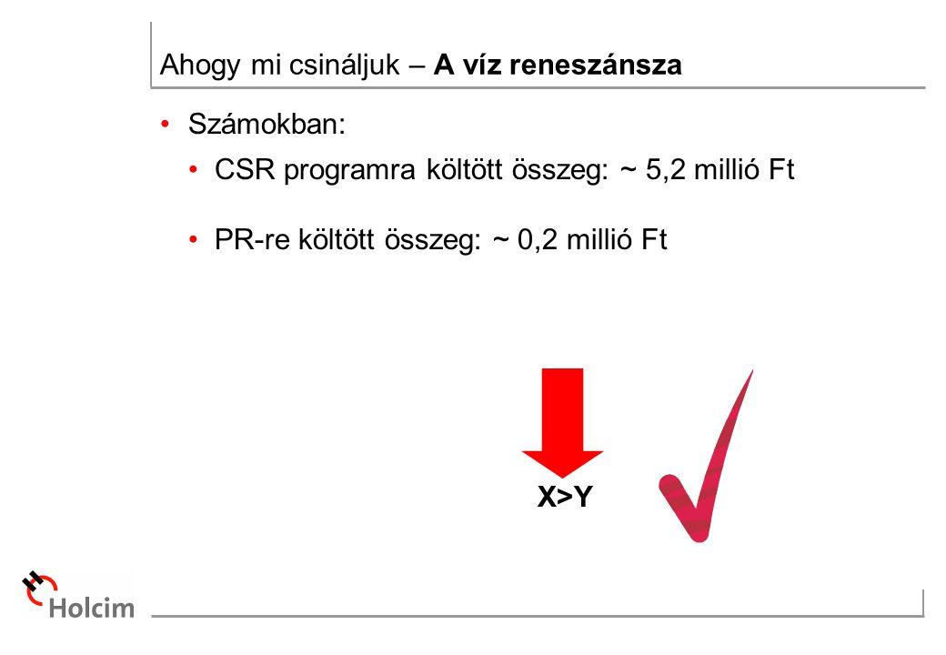 Ahogy mi csináljuk – A víz reneszánsza Számokban: CSR programra költött összeg: ~ 5,2 millió Ft PR-re költött összeg: ~ 0,2 millió Ft X>Y
