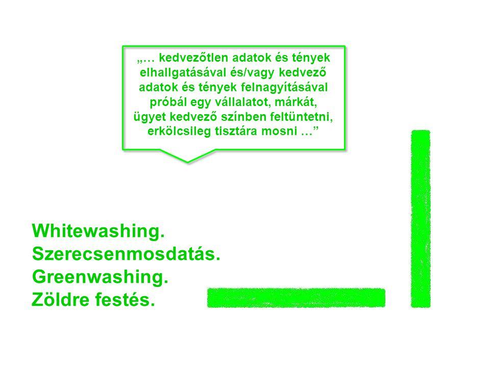 Whitewashing. Szerecsenmosdatás. Greenwashing. Zöldre festés.