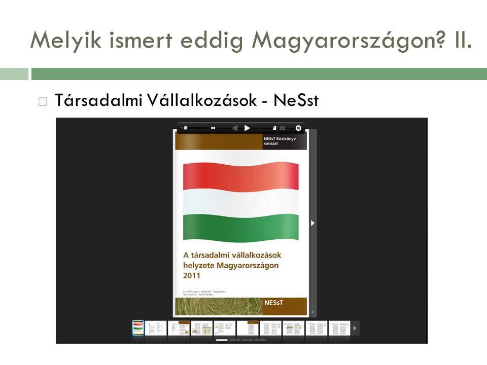 Melyik ismert eddig Magyarországon II.  Társadalmi Vállalkozások - NeSst