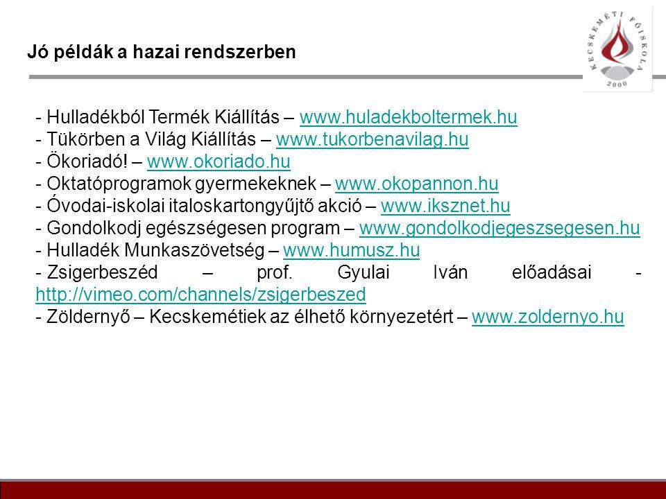 17 Jó példák a hazai rendszerben - Hulladékból Termék Kiállítás – www.huladekboltermek.huwww.huladekboltermek.hu - Tükörben a Világ Kiállítás – www.tu