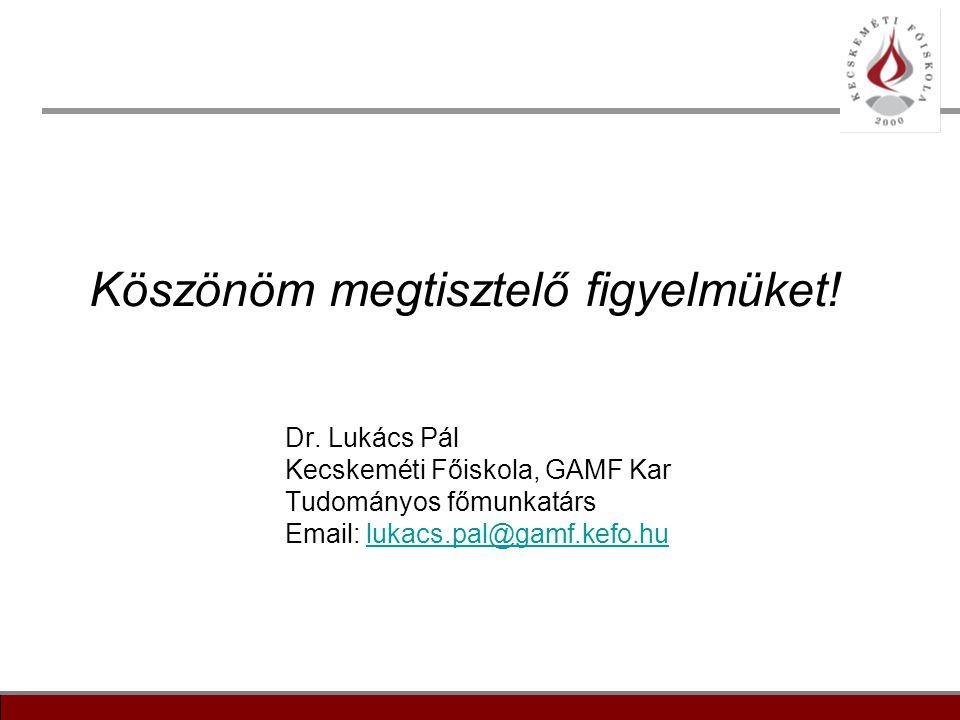 19 Köszönöm megtisztelő figyelmüket! Dr. Lukács Pál Kecskeméti Főiskola, GAMF Kar Tudományos főmunkatárs Email: lukacs.pal@gamf.kefo.hulukacs.pal@gamf