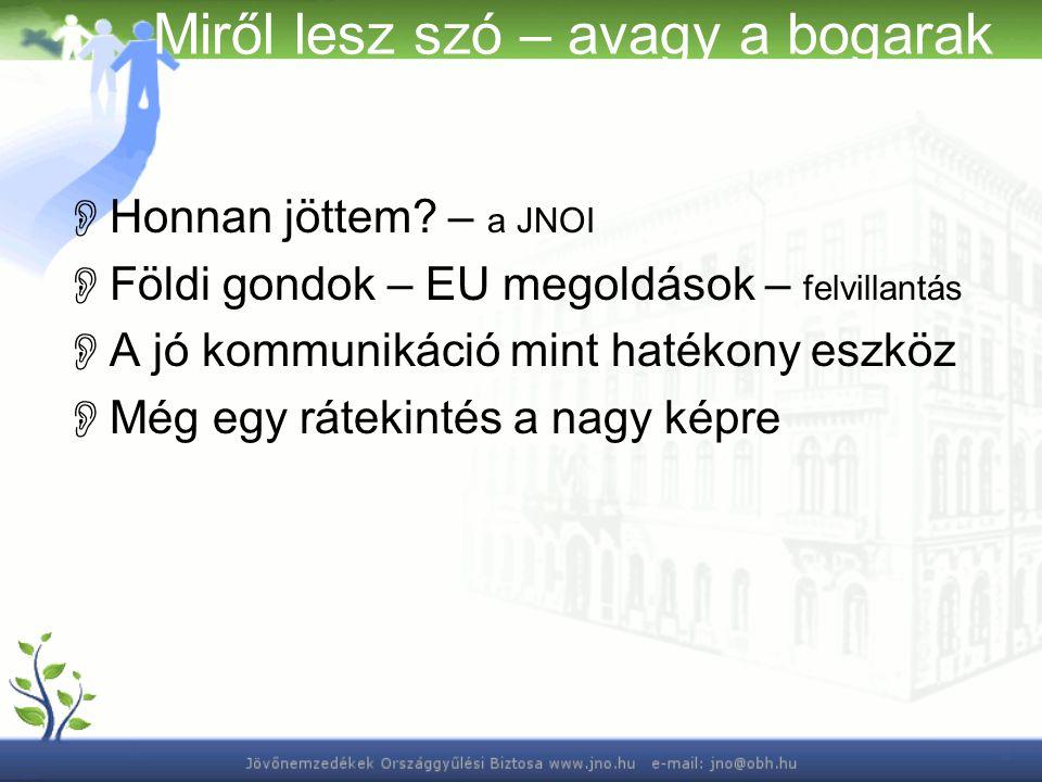 Miről lesz szó – avagy a bogarak  Honnan jöttem? – a JNOI  Földi gondok – EU megoldások – felvillantás  A jó kommunikáció mint hatékony eszköz  Mé