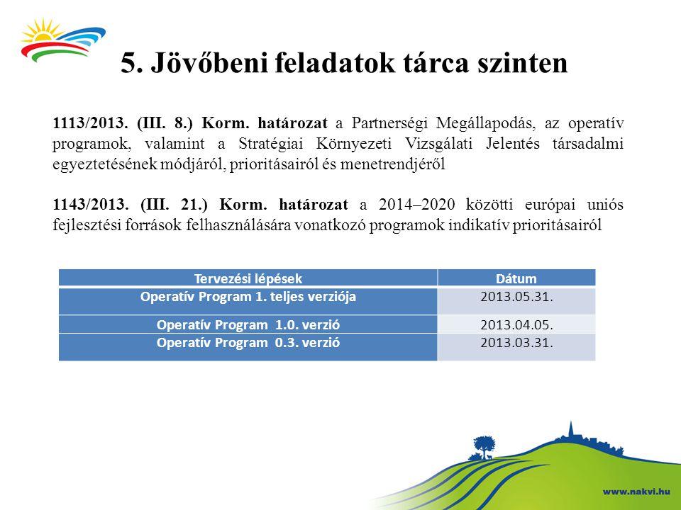 5. Jövőbeni feladatok tárca szinten 1113/2013. (III. 8.) Korm. határozat a Partnerségi Megállapodás, az operatív programok, valamint a Stratégiai Körn