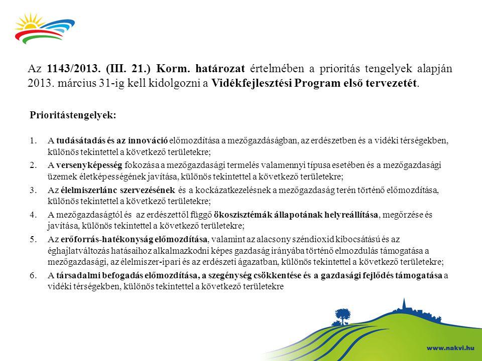 Az 1143/2013. (III. 21.) Korm. határozat értelmében a prioritás tengelyek alapján 2013. március 31-ig kell kidolgozni a Vidékfejlesztési Program első