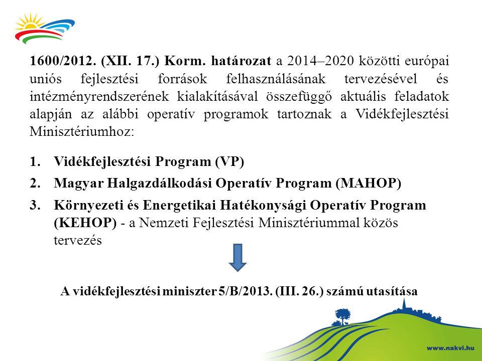 1600/2012. (XII. 17.) Korm. határozat a 2014–2020 közötti európai uniós fejlesztési források felhasználásának tervezésével és intézményrendszerének ki