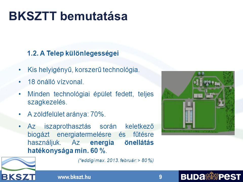 www.bkszt.hu 9 Kis helyigényű, korszerű technológia. 18 önálló vízvonal. Minden technológiai épület fedett, teljes szagkezelés. A zöldfelület aránya: