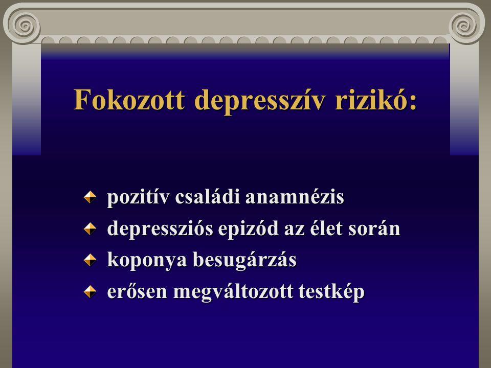 Fokozott depresszív rizikó: pozitív családi anamnézis pozitív családi anamnézis depressziós epizód az élet során depressziós epizód az élet során kopo