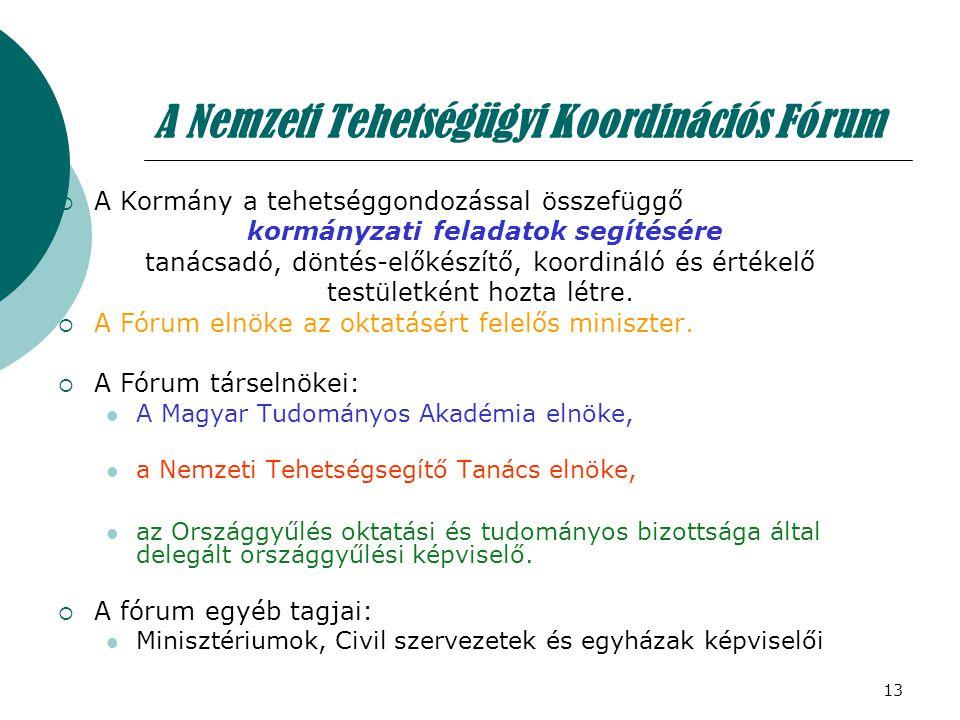 13 A Nemzeti Tehetségügyi Koordinációs Fórum  A Kormány a tehetséggondozással összefüggő kormányzati feladatok segítésére tanácsadó, döntés-előkészít