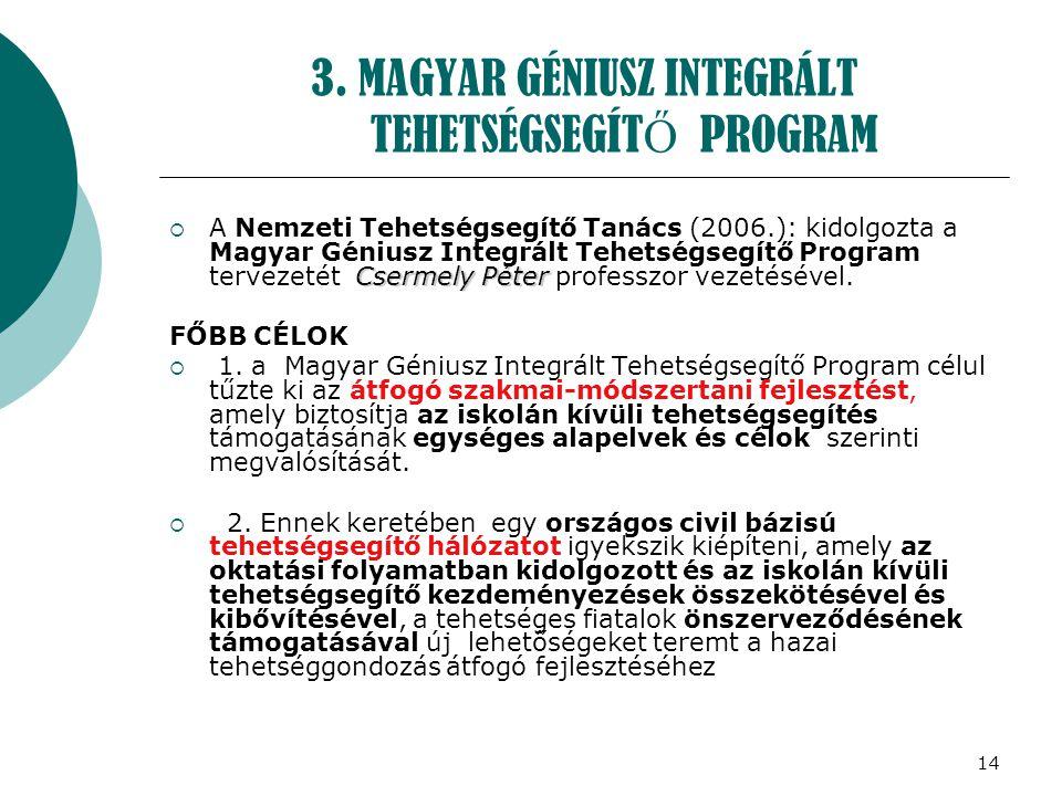 14 3. MAGYAR GÉNIUSZ INTEGRÁLT TEHETSÉGSEGÍT Ő PROGRAM Csermely Péter  A Nemzeti Tehetségsegítő Tanács (2006.): kidolgozta a Magyar Géniusz Integrált