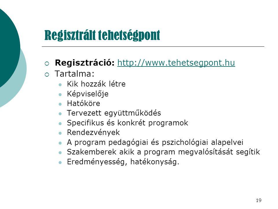 19 Regisztrált tehetségpont  Regisztráció: http://www.tehetsegpont.hu http://www.tehetsegpont.hu  Tartalma: Kik hozzák létre Képviselője Hatóköre Te