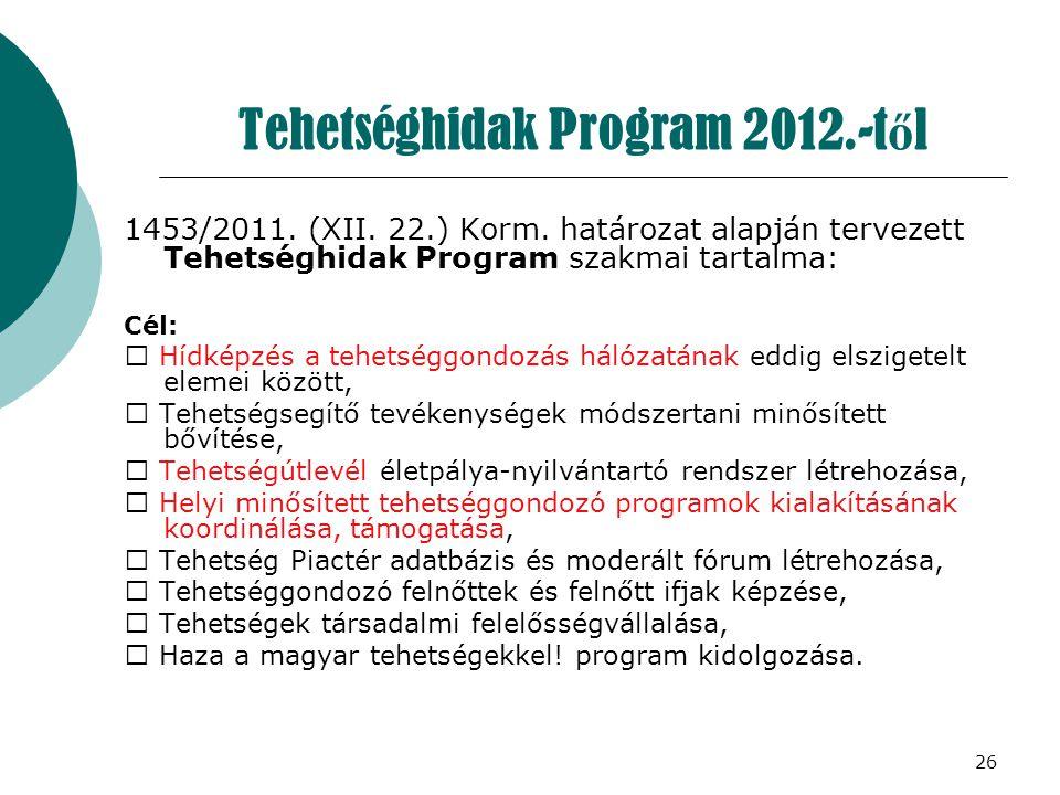26 Tehetséghidak Program 2012.-t ő l 1453/2011. (XII. 22.) Korm. határozat alapján tervezett Tehetséghidak Program szakmai tartalma: Cél:  Hídképzés