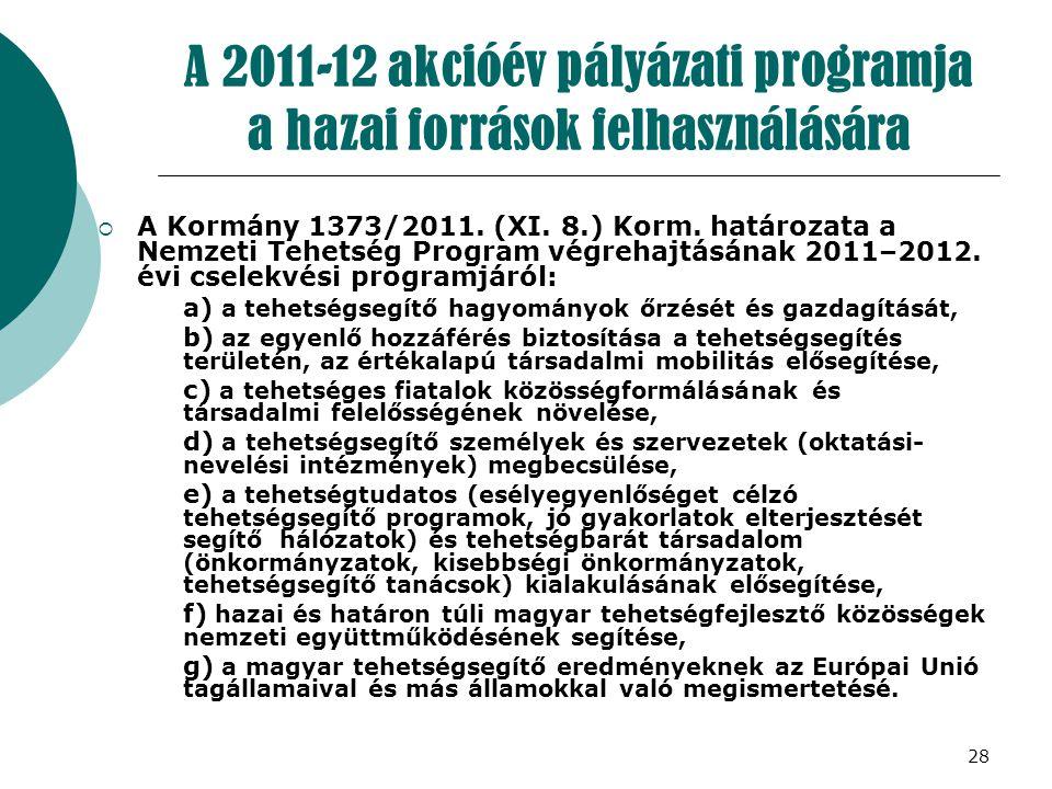 28 A 2011-12 akcióév pályázati programja a hazai források felhasználására  A Kormány 1373/2011. (XI. 8.) Korm. határozata a Nemzeti Tehetség Program