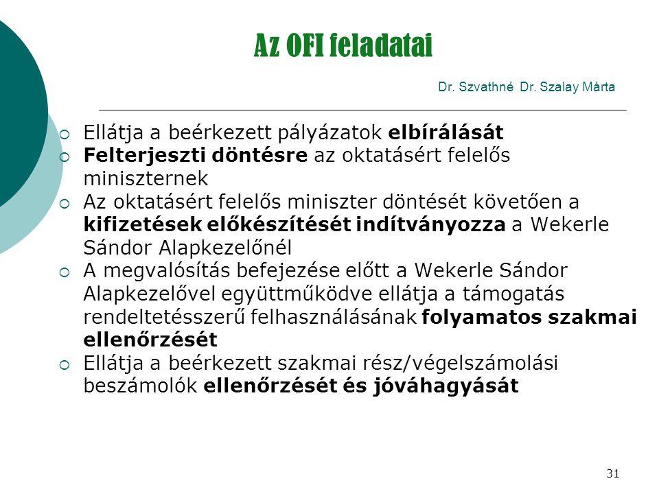 31 Az OFI feladatai Dr. Szvathné Dr. Szalay Márta  Ellátja a beérkezett pályázatok elbírálását  Felterjeszti döntésre az oktatásért felelős miniszte