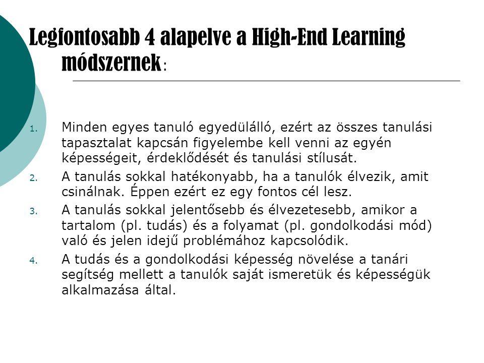 Legfontosabb 4 alapelve a High-End Learning módszernek : 1. Minden egyes tanuló egyedülálló, ezért az összes tanulási tapasztalat kapcsán figyelembe k