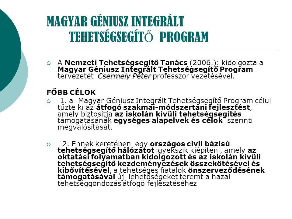 MAGYAR GÉNIUSZ INTEGRÁLT TEHETSÉGSEGÍT Ő PROGRAM Csermely Péter  A Nemzeti Tehetségsegítő Tanács (2006.): kidolgozta a Magyar Géniusz Integrált Tehet
