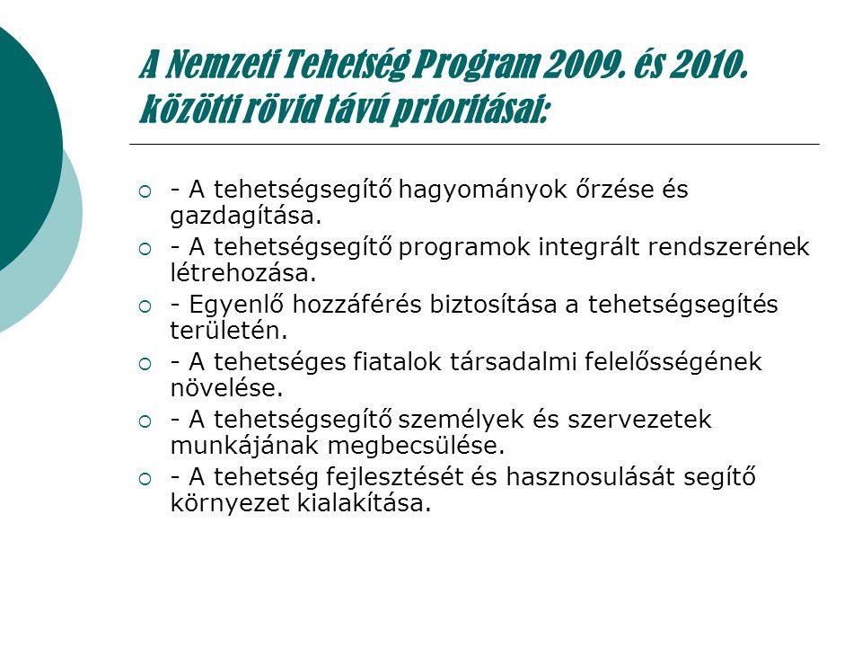 A Nemzeti Tehetség Program 2009. és 2010. közötti rövid távú prioritásai:  - A tehetségsegítő hagyományok őrzése és gazdagítása.  - A tehetségsegítő