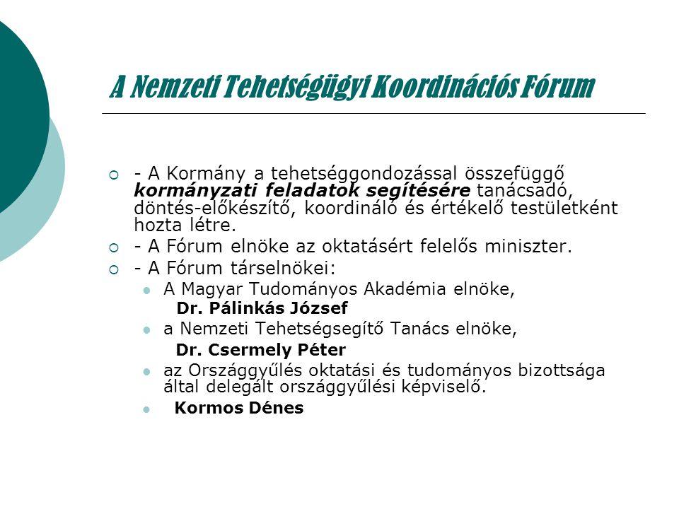 A Nemzeti Tehetségügyi Koordinációs Fórum  - A Kormány a tehetséggondozással összefüggő kormányzati feladatok segítésére tanácsadó, döntés-előkészítő
