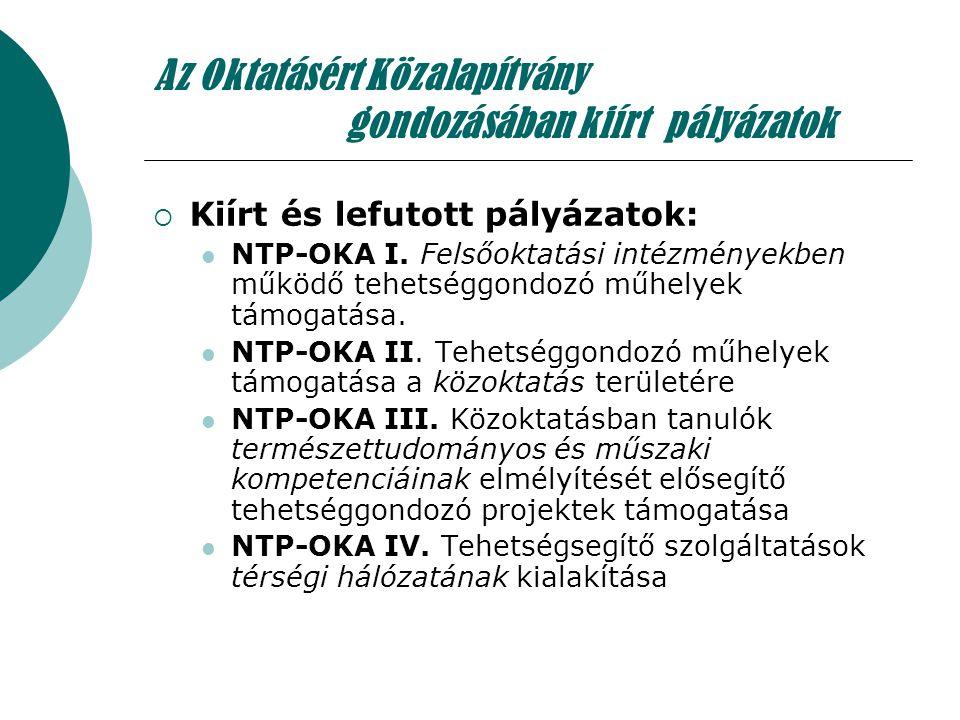 Az Oktatásért Közalapítvány gondozásában kiírt pályázatok  Kiírt és lefutott pályázatok: NTP-OKA I. Felsőoktatási intézményekben működő tehetséggondo
