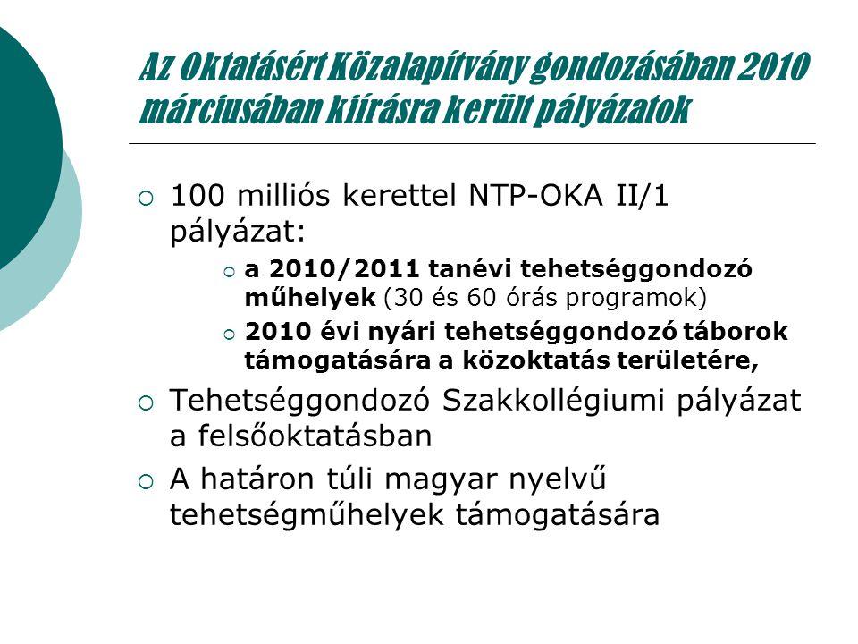 Az Oktatásért Közalapítvány gondozásában 2010 márciusában kiírásra került pályázatok  100 milliós kerettel NTP-OKA II/1 pályázat:  a 2010/2011 tanév