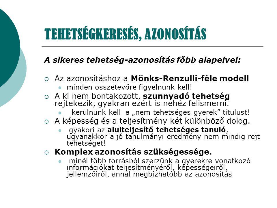 TEHETSÉGKERESÉS, AZONOSÍTÁS A sikeres tehetség-azonosítás főbb alapelvei:  Az azonosításhoz a Mönks-Renzulli-féle modell minden összetevőre figyelnün