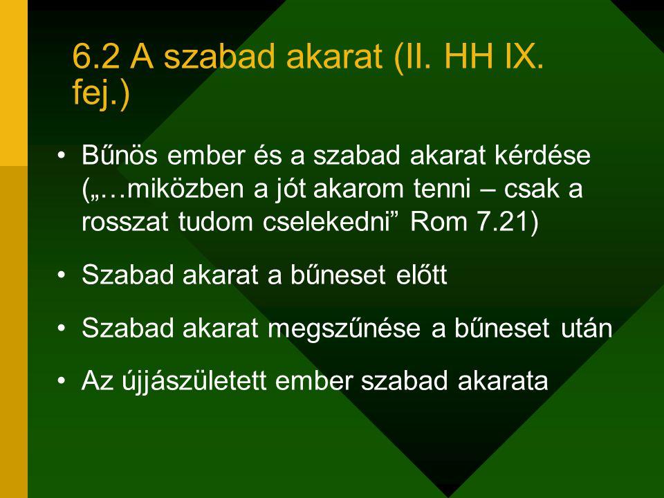 """6.2 A szabad akarat (II. HH IX. fej.) Bűnös ember és a szabad akarat kérdése (""""…miközben a jót akarom tenni – csak a rosszat tudom cselekedni"""" Rom 7.2"""