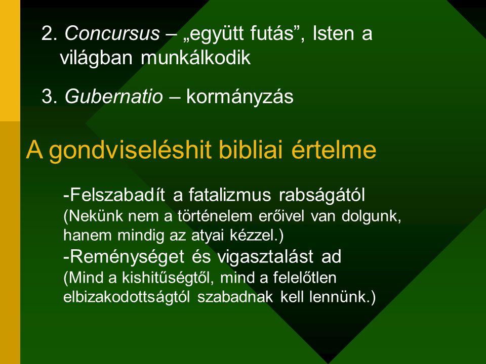 """2. Concursus – """"együtt futás"""", Isten a világban munkálkodik 3. Gubernatio – kormányzás A gondviseléshit bibliai értelme -Felszabadít a fatalizmus rabs"""
