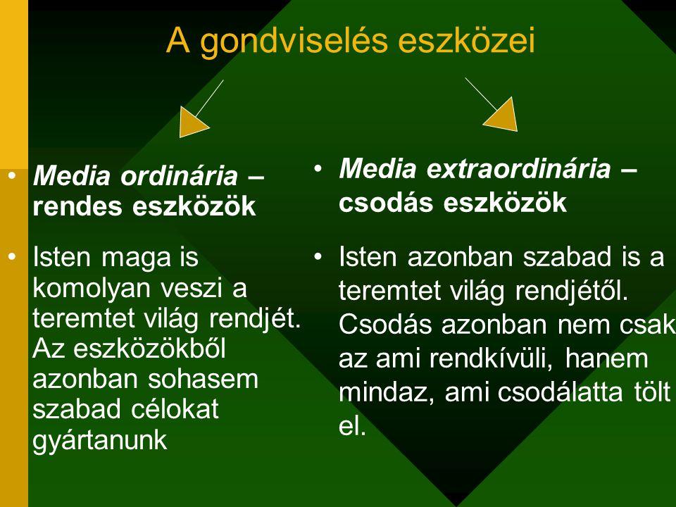 A gondviselés eszközei Media ordinária – rendes eszközök Isten maga is komolyan veszi a teremtet világ rendjét. Az eszközökből azonban sohasem szabad