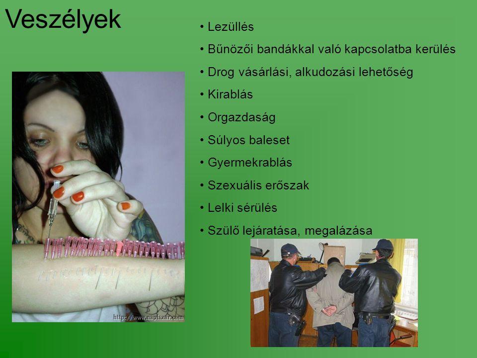 Veszélyek Lezüllés Bűnözői bandákkal való kapcsolatba kerülés Drog vásárlási, alkudozási lehetőség Kirablás Orgazdaság Súlyos baleset Gyermekrablás Szexuális erőszak Lelki sérülés Szülő lejáratása, megalázása
