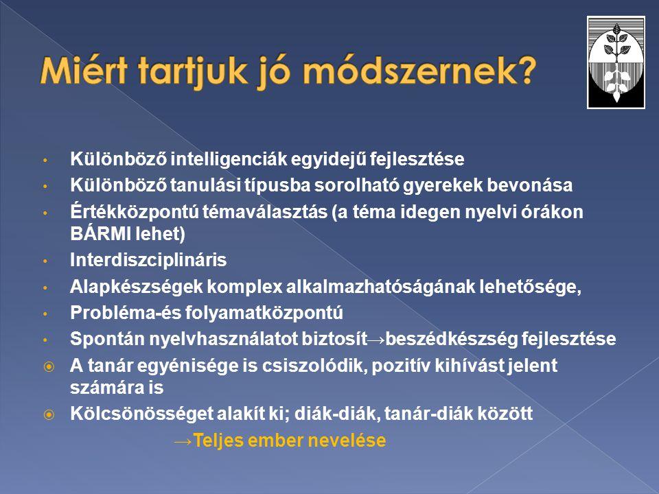 Különböző intelligenciák egyidejű fejlesztése Különböző tanulási típusba sorolható gyerekek bevonása Értékközpontú témaválasztás (a téma idegen nyelvi