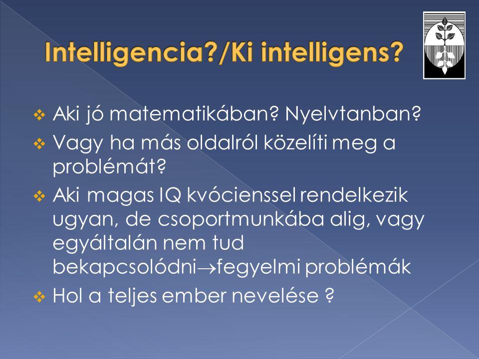  Aki jó matematikában? Nyelvtanban?  Vagy ha más oldalról közelíti meg a problémát?  Aki magas IQ kvócienssel rendelkezik ugyan, de csoportmunkába