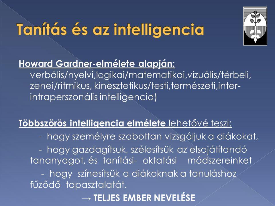 Howard Gardner-elmélete alapján: verbális/nyelvi,logikai/matematikai,vizuális/térbeli, zenei/ritmikus, kinesztetikus/testi,természeti,inter- intrapers