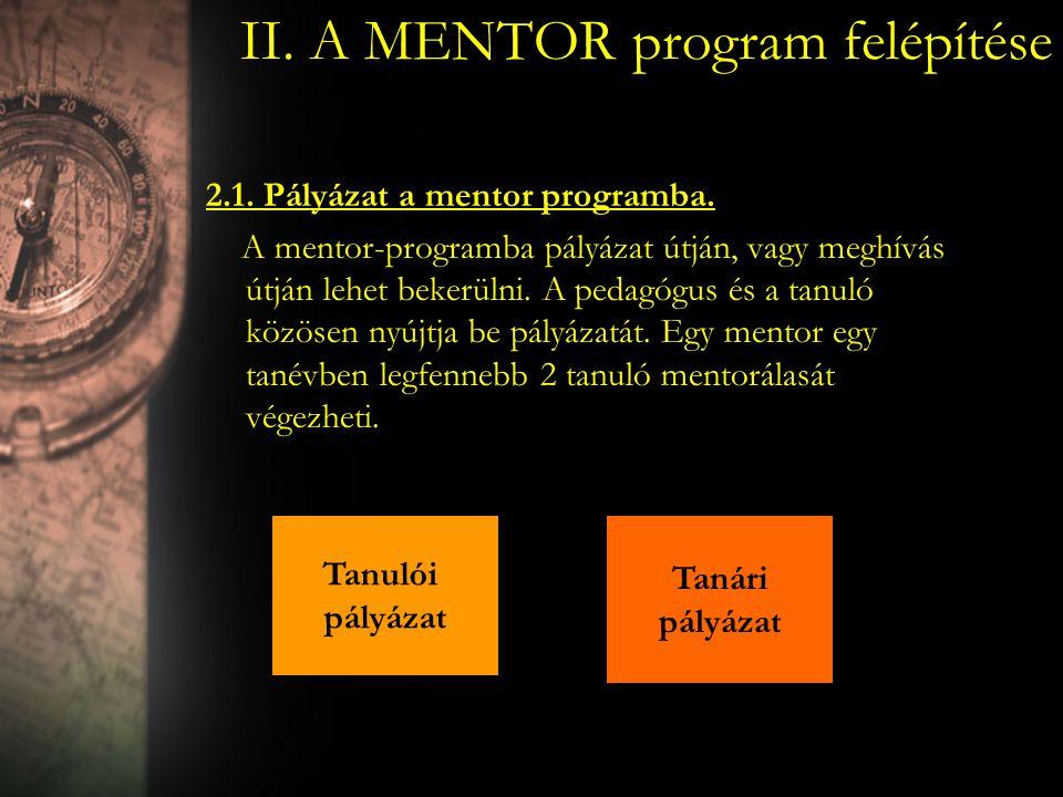 II. A MENTOR program felépítése 2.1. Pályázat a mentor programba. A mentor-programba pályázat útján, vagy meghívás útján lehet bekerülni. A pedagógus