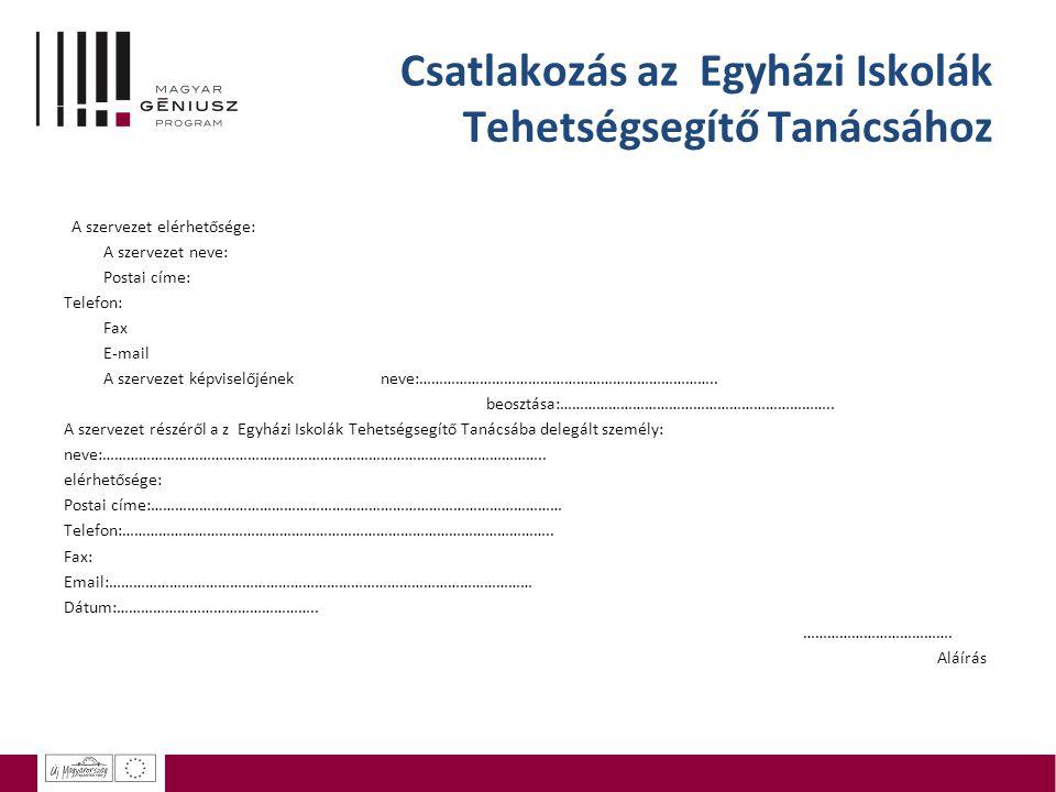 Csatlakozás az Egyházi Iskolák Tehetségsegítő Tanácsához A szervezet elérhetősége: A szervezet neve: Postai címe: Telefon: Fax E-mail A szervezet képviselőjének neve:………………………………………………………………..