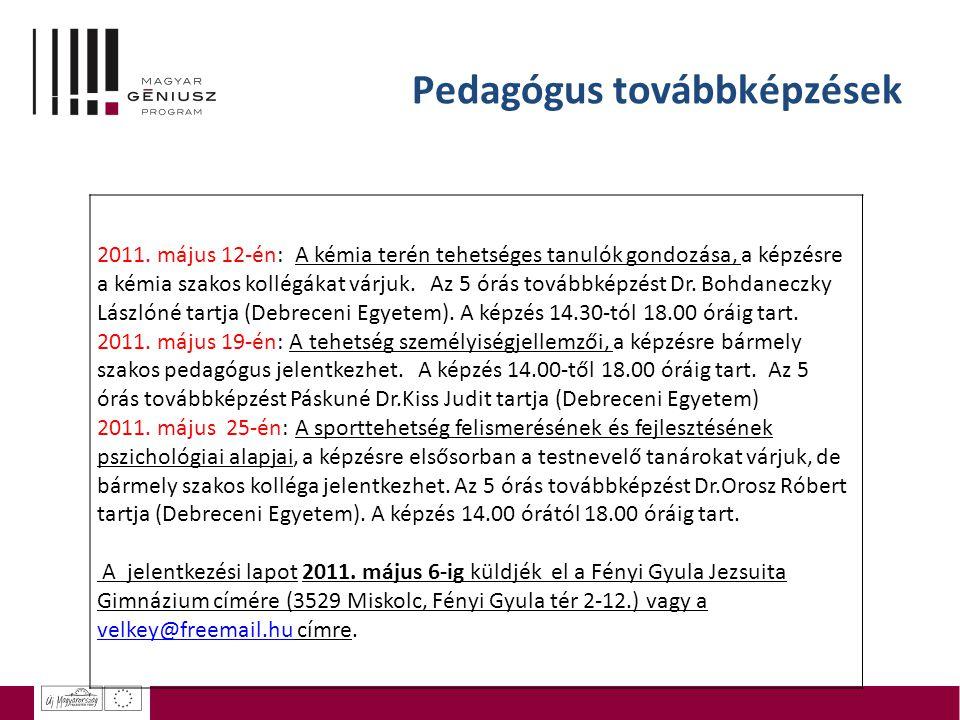 Pedagógus továbbképzések 2011.