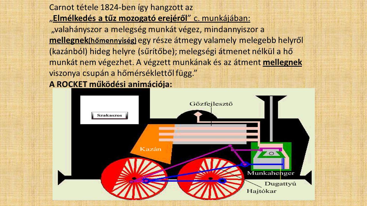 """Carnot tétele 1824-ben így hangzott az """"Elmélkedés a tűz mozogató erejéről"""" c. munkájában: """"valahányszor a melegség munkát végez, mindannyiszor a mell"""