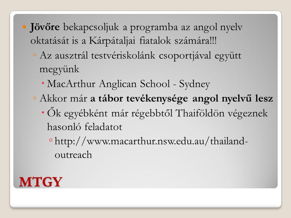 MTGY Jövőre bekapcsoljuk a programba az angol nyelv oktatását is a Kárpátaljai fiatalok számára!!.