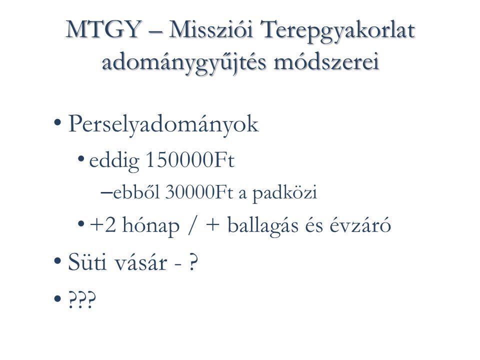 MTGY – Missziói Terepgyakorlat adománygyűjtés módszerei Perselyadományok eddig 150000Ft – ebből 30000Ft a padközi +2 hónap / + ballagás és évzáró Süti vásár - .