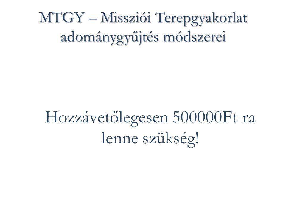 MTGY – Missziói Terepgyakorlat adománygyűjtés módszerei Hozzávetőlegesen 500000Ft-ra lenne szükség!