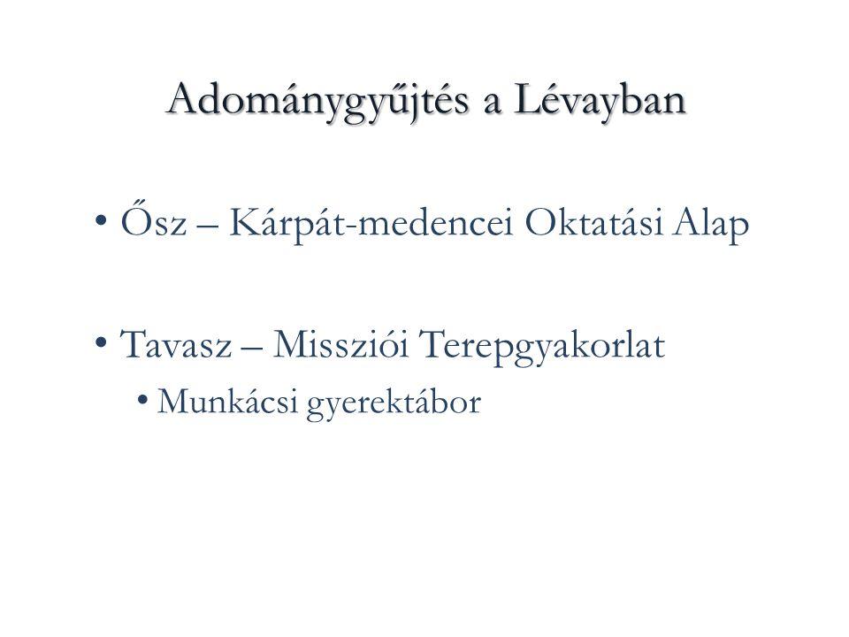 Adománygyűjtés a Lévayban Ősz – Kárpát-medencei Oktatási Alap Tavasz – Missziói Terepgyakorlat Munkácsi gyerektábor