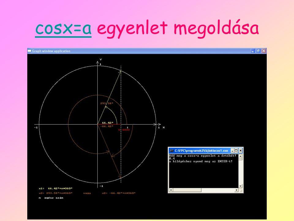 cosx=acosx=a egyenlet megoldása