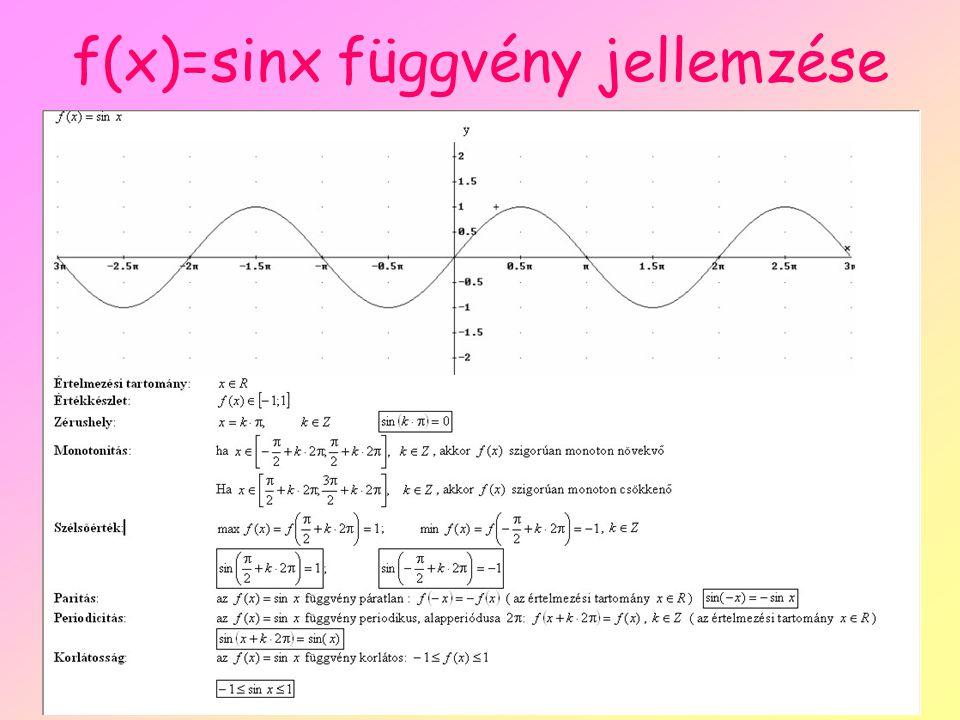 f(x)=sinx függvény jellemzése