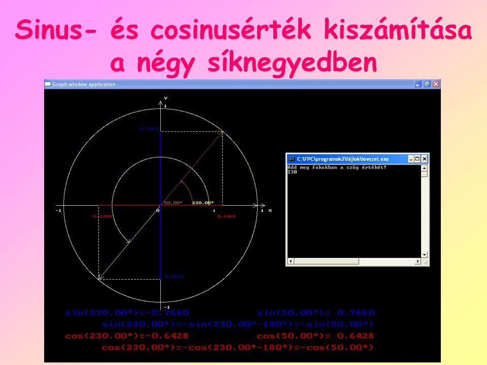 Sinus- és cosinusérték kiszámítása a négy síknegyedben